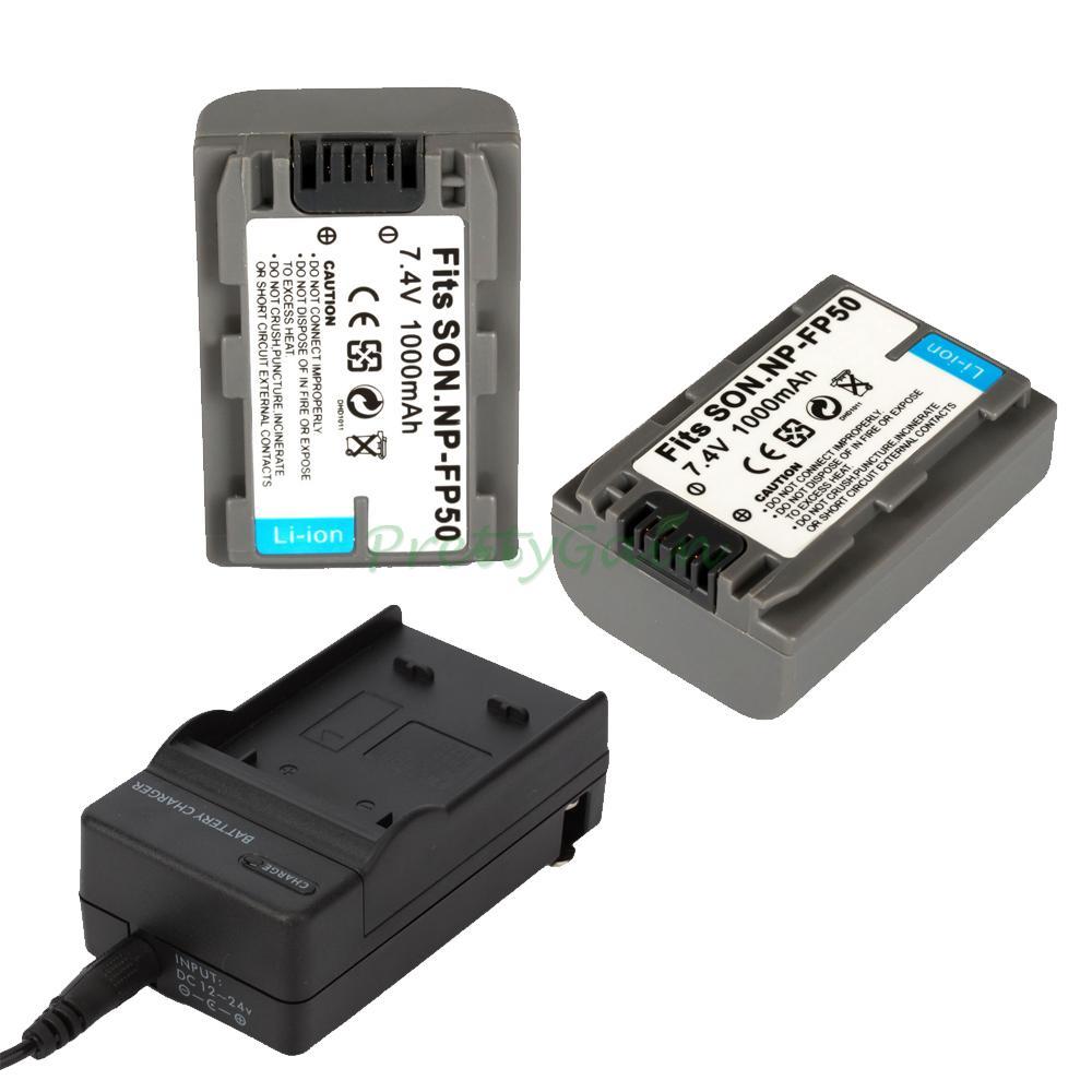 2x NP-FP50 Battery for SONY HandyCam DCR-DVD105/DVD202E ...